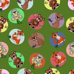 Animals, seamless pattern with cartoon animals: cat, dog, hare, hedgehog, bear, penguin, tiger.  The drawing in the style of hand drawn.