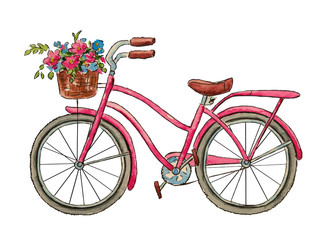 Watercolor  bicycle and  flowers for Valentine's Day. Romantic picture