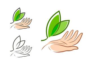 Ecology, environment logo. Natural or organic product, fresh label. Vector illustration