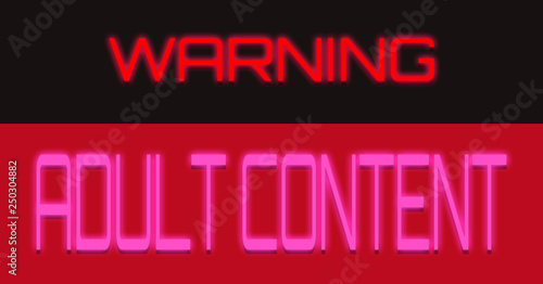 The Text Warning Adult Content Pink Red Black Rectangle Shapes Sharp