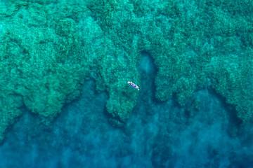 aerial of paddler on reef