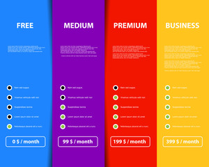 Four variant offer product and service on color web rectangles Vector graphic