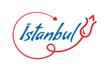 istanbul word. istanbul word and red tulip