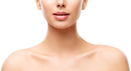 Woman Beauty Skin Care, Model Face Lips Neck and Shoulders Isolated over White Background