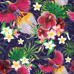Exotic summer print with flamingo and tropical leaves. Isolated  illustration on white background....