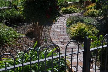 Brick path through garden