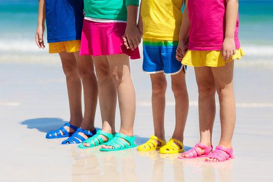 Kids beach shoes. Children summer sea footwear.