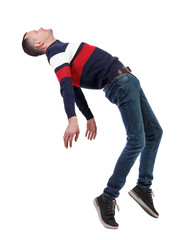Side view of man in zero gravity or a fall.
