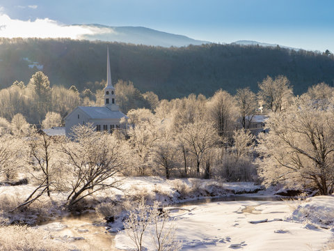 Stowe Community Church on a cold winter morning.
