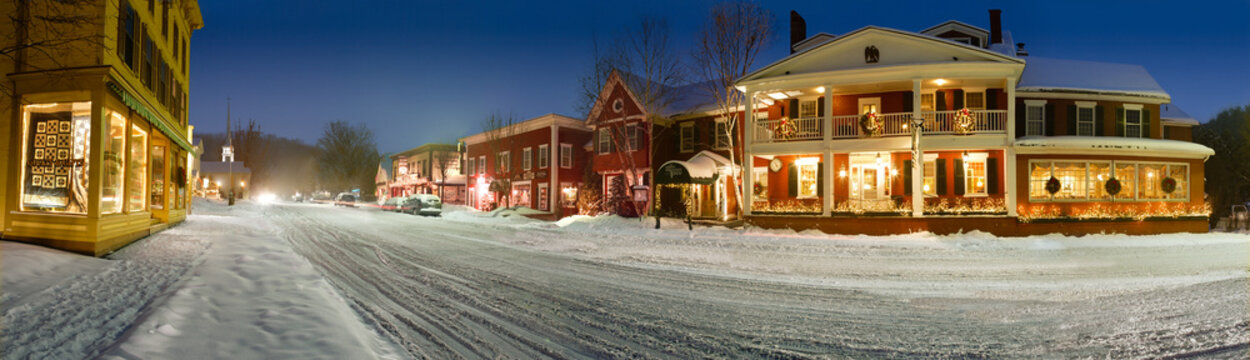 Winter panorama of downtown New England village, Stowe, Vermont, USA