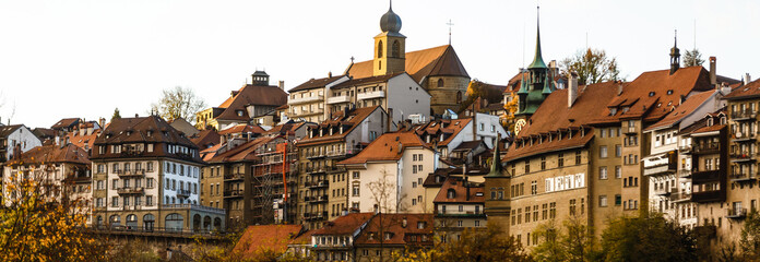 Landscape with historic medieval houses in Friburg, Switzerland Fototapete