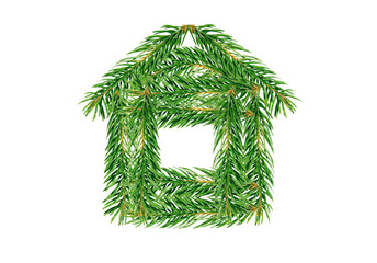 House of fir branches