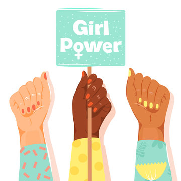 """International Women's Day concept. Woman's fists showing their power. Girl's hand holding a nameplates with inscription """"Girl power"""". Vector illustration on white background."""