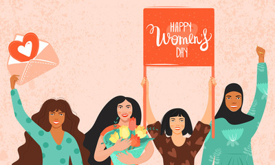 International Women's Day, 8 march concept. Group of women different nationalities and cultures holding a flag with congratulations and envelope with heart . Vector illustration.