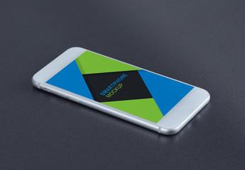 Smartphone on Dark Gray Surface Mockup