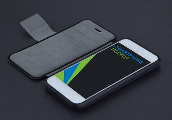 Smartphone in Gray Wallet Mockup