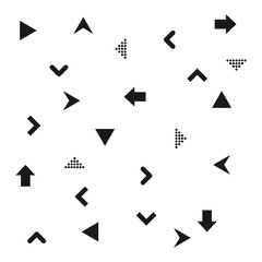 Set of black arrows icons. Dots and lines. Pointer forward, backward. Icon next, icon back, icon forward. Black Arrows Background