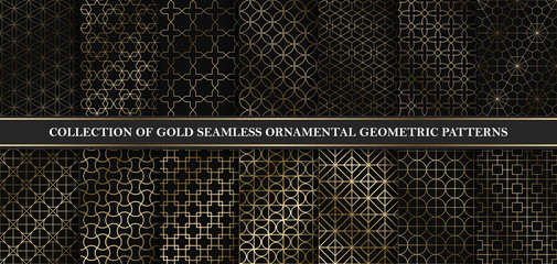 Collection of art deco vector geometric patterns - seamless luxury gold gradient design. Rich endless ornamental backgrounds