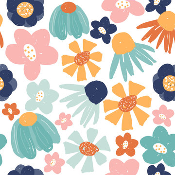 Funny hand drawn flowers seamless pattern. Fashion summer print. Vector illustration.