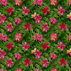 Beautiful floral tropical seamless pattern for wallpaper or fabric. Design for wallpapers, textiles, fabrics, wrapping paper. Pattern with flowers and leaves. Handmade watercolour painting.