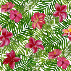 Tropical leaves watercolor hand painted. Seamless pattern with tropical leaves for fabric, wallpaper, wrapping paper, etc.