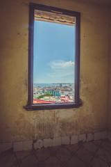 window and blue sky and view of Havana Cuba