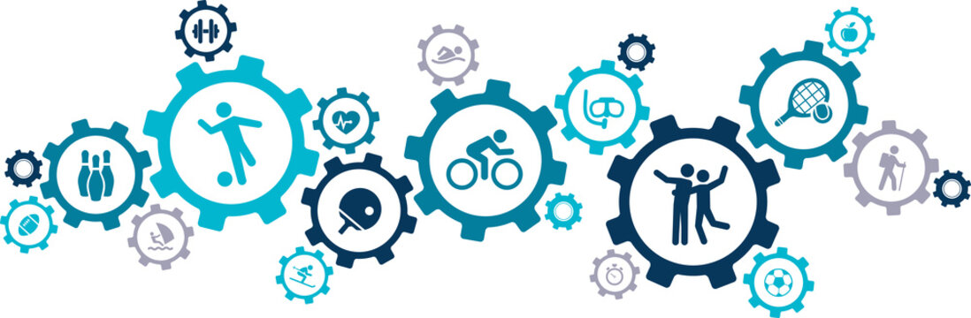 sports & fitness icons / gears concept design - vector illustration