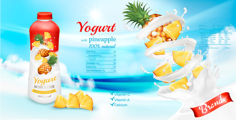 White yogurt with pineapple in bottle. Advertisment design template. Vector