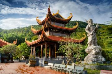 Vietnam travel. Ho Quoc Pagoda at Phu Quoc Island. Beautiful Famous landmark buddhism temple