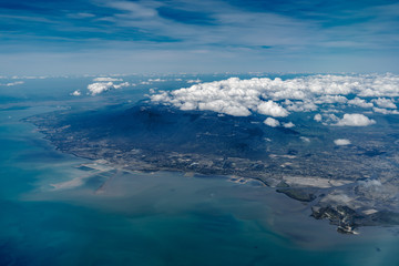 Wall Mural - Flying over Cambodia. Aerial landscape. View from airplane window