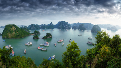 Wall Mural - Ha Long Bay Vietnam. Aerial panoramic view. Famous travel nature destination. Green mountains in the water. Islands landscape at Halong
