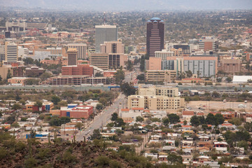 Overhead view of downtown Tucson business district, the only tall buildings in the sprawling desert city