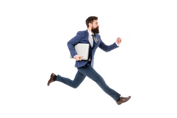 Towards success. Inspiring innovations. Businessman inspired guy feel powerful going to change world. Man inspired hold laptop while jump. Follow your dream. Keep moving. Inspired for start up