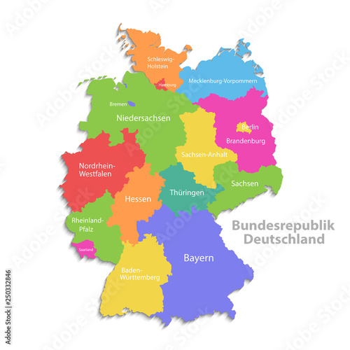 Germany map, new political detailed map, separate individual regions ...