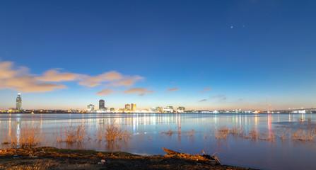 sunrise on the Mississippi River looking toward Baton Rouge