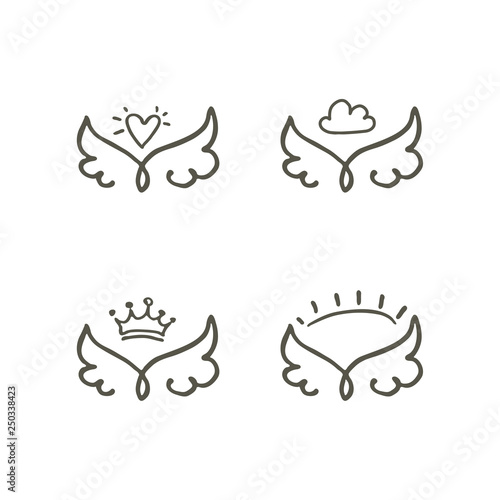 Outline of wings with heart, crown, cloud and sun four vector