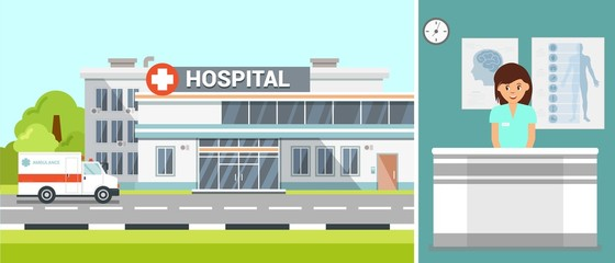 Hospital Exterior and Ambulance Flat Illustration