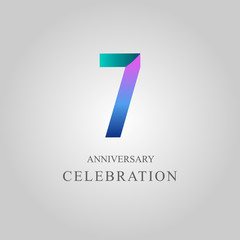 7 Year Anniversary Celebration Vector Template Design Illustration