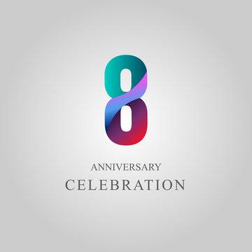 8 Year Anniversary Celebration Vector Template Design Illustration