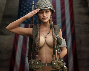 Motivational portrait of a sexual topless pin up female semi nude proudly saluting American troops. 3d rendering