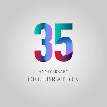 35 Year Anniversary Celebration Vector Template Design Illustration