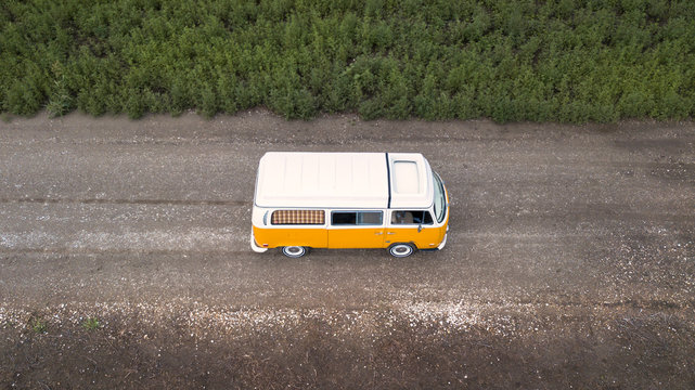 Orange White Volkswagen Westfalia Camper Bus Type 2 Aerial
