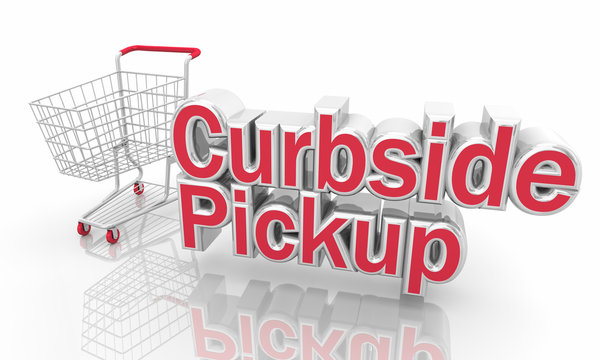 Curbside Pickup Shopping Cart Service Words 3d Illustration