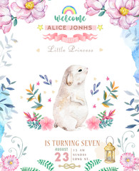 Cute happy birthday card with cartoon Bunny. Watercolor rabbit clip art and beauty boho pink flowers, floral. lamp light and leaf for Happy Easter on white background