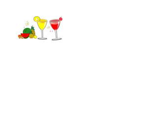 Juice in glass, cocktail, watermelon, orange, pineapple, grapes, lime, water splashes, tropical fruit - summer Thai fruit, dinner concept during Songkran Thai, vector illustration