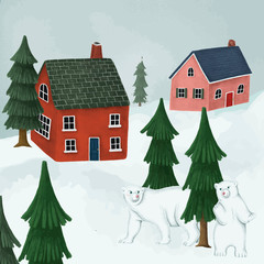 Wall Mural - White polar bears in a village