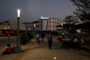 The sign of the former Libertad movie theater is seen in downtown San Salvador