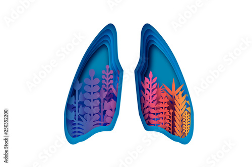 Colorful Human Lungs World Health Day Medicine Idea With Paper Cut