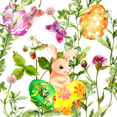 Easter bunny with colored eggs in grass, flowers. Seamless floral easter pattern with egg hunt. Watercolor