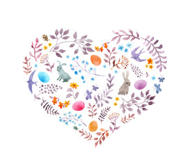 Cute easter heart with rabbits, eggs, vintage flowers, birds. Watercolor